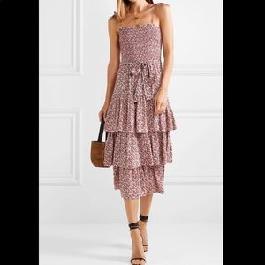 Tory Burch wild pansy ruffle tiered dress coverup